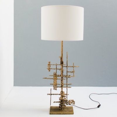 Large 'Brutalist' table light by Marcello Fantoni, Firenze Italy 1955
