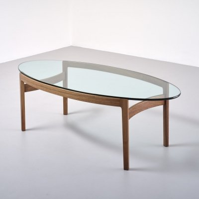 Elliptical Low Table by Ib Kofod-Larsen for Fröscher, Germany 1970's
