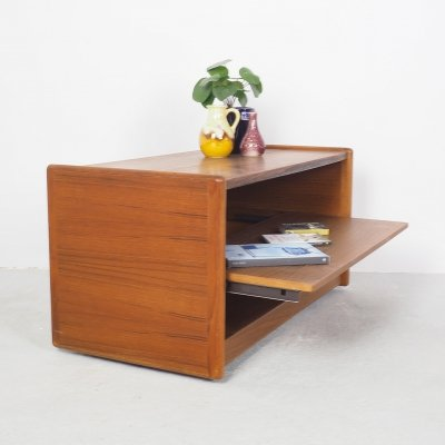 Teak record cabinet on wheels with pull out tray, 1960's
