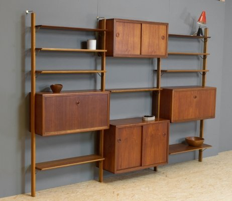 Modular wall unit in teak by William Watting for Fristho, 1960s