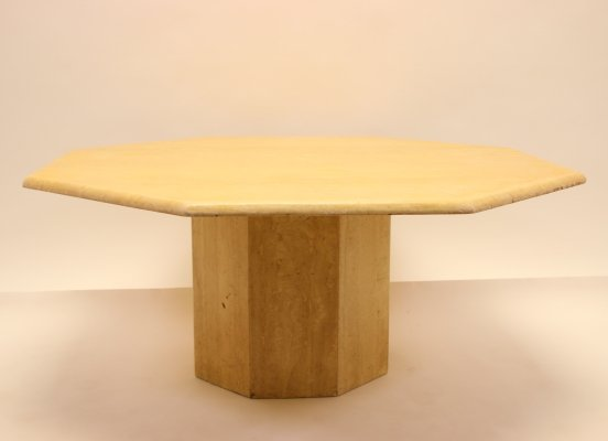 Large octagonal coffee table in travertine marble