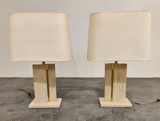 Pair of travertine & brass table lamps, 1970s