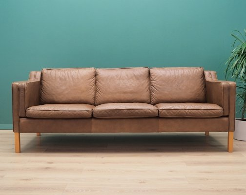 Danish design Sofa by Mogens Koch in brown leather, 1960s