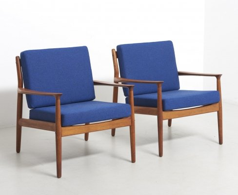 Pair of Easy Chairs by Grete Jalk for Glostrup Møbelfabrik, Denmark 1960's