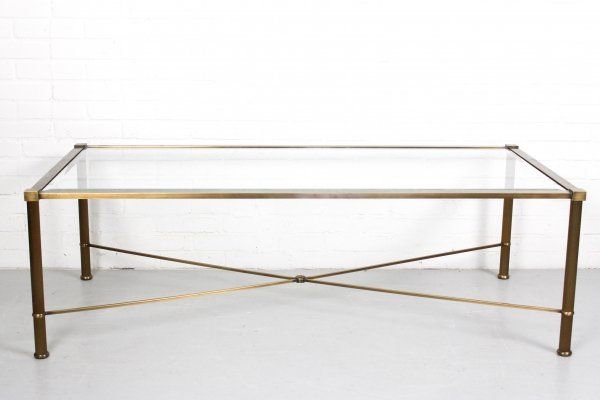 Vintage Brass-look & Facet Glass Side Table, 1960s