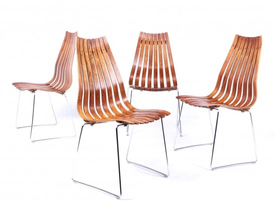 Set of 4 Mid Century Dining Chairs by Hans Brattrud for Hove Mobler, 1960s