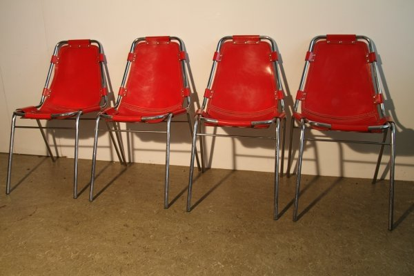 Set of 4 Chrome & leather Les Arcs dining chairs selected by Charlotte Perriand, 1960s