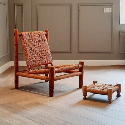 Wood & Rope Lounge Chair with Footrest, 1960s