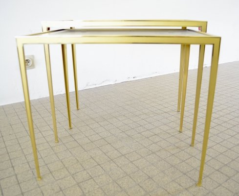 Vereinigte Werkstätten collection brass nesting tables, 1950s