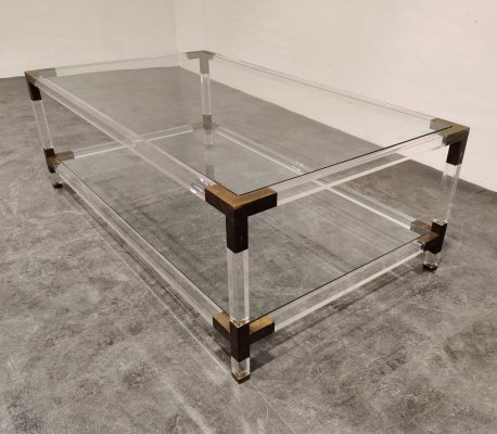 Lucite & brass coffee table by Charles Hollis Jones, 1970s