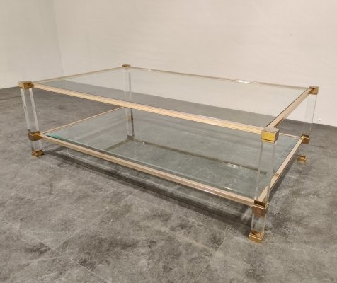 Brass & lucite coffee table by Pierre Vandel, 1970s