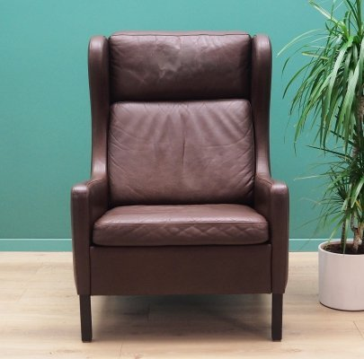 Danish design Armchair in brown leather, 1960s