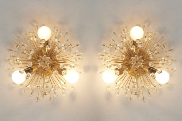 Pair of 'Snowflake' Wall Lights by Emil Stejnar for Rupert Nikoll, Austria 1960s
