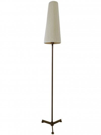 Minimalistic brass tripod floor lamp with a conical fabric shade, 1970s
