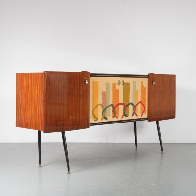 Italian Sideboard with Signed Painting on the Doors, 1950