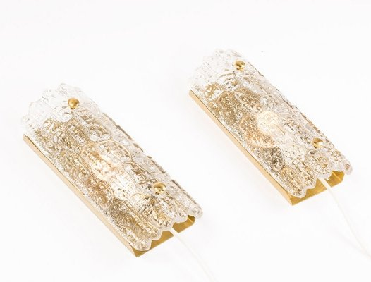 Vintage set of 2 glass & brass sconces for Lyfa/Orrefors by Carl Fagerlund