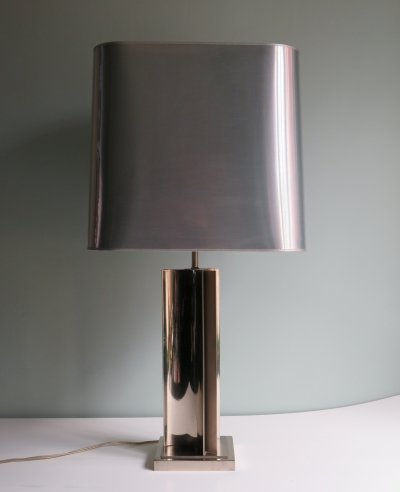 Willy Rizzo for Deknudt Chrome table lamp with a shiny silver shade