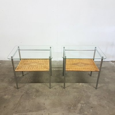 Set of 2 rattan & steel night stands with glass tops, 1970s