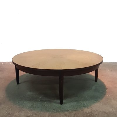 Rosewood round coffee table with an etched brass top, Denmark 1960s