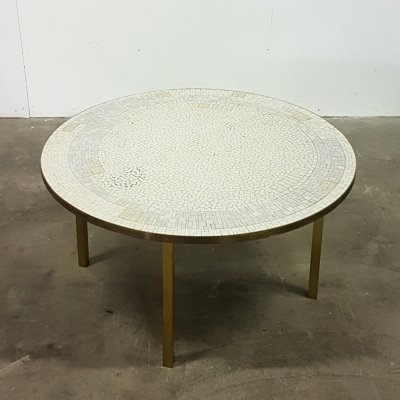 Handmade brass coffee table with mosaic top by Berthold Müller, Germany 1960s