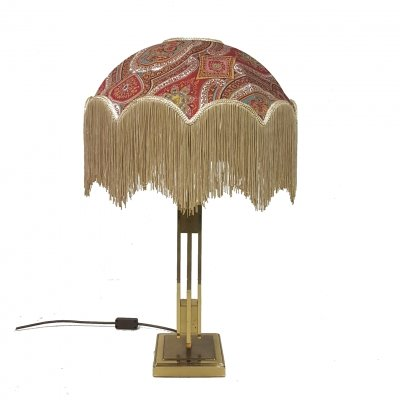 Sculptural brass lamp with a bohemian fringed hood, 1970s
