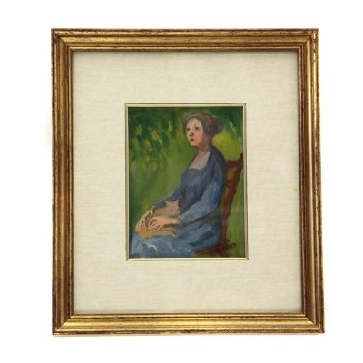 Oil on canvas 'Woman on a green background' by Gigi Caldanzano, 1980s