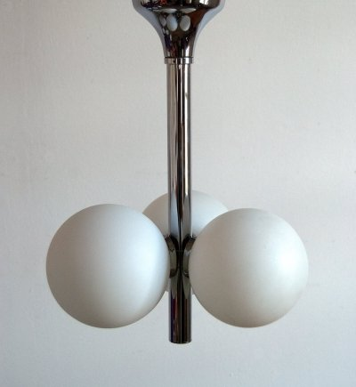 Hanging lamp with 3 white glass spheres by Hustadt Leuchten, 1970s