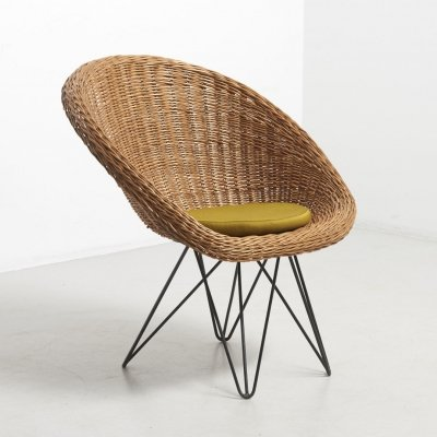 Basket Chair with Metal Legs by Teun Velthuizen for Urotan, Netherlands 1950's