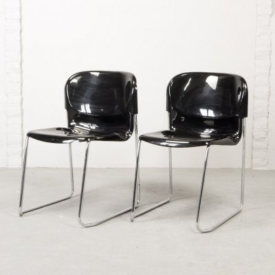 5 Shiny Black Stackable Dining / Conference Chairs by Gerd Lange for Drabert, 1980s
