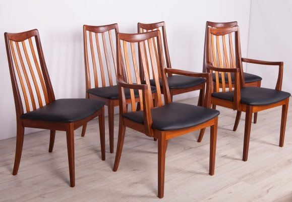 Set of 6 Mid Century Teak & Leather Dining Chairs by L. Dandy for G-Plan, 1960s