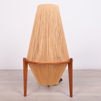 Teak & Hemp String Floor Lamp by Ib Fabiansen for Fog & Mørup, 1950s