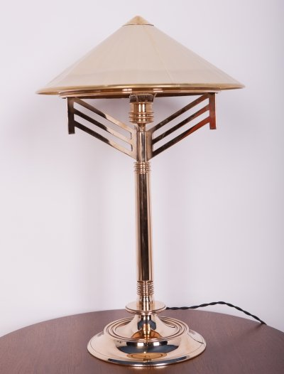 Art Deco Brass Table Lamp, 1940s