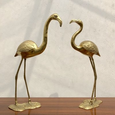 Pair of brass flamingos by Gilde Handwerk, 1960s