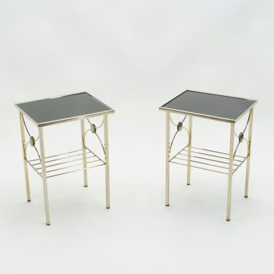 French gilded metal & black opaline glass end tables, 1960s