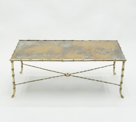 French Maison Jansen brass bamboo mirrored coffee table, 1960s
