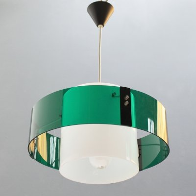 Modernist green & white acrylic French pendant light, 1950s