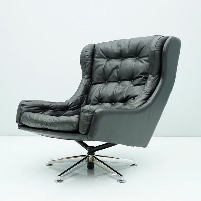 Black Leather Swivel Lounge Chair, Denmark 1960s