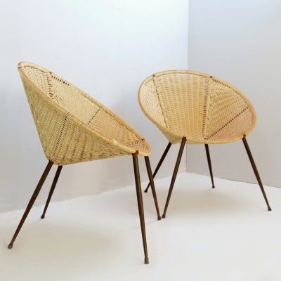 Pair of Scoubidou Outdoor Round Armchairs, Italy 1950s