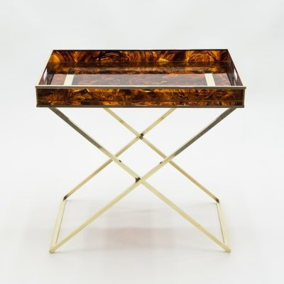 Rare French side tray table in Faux Tortoise & brass by Maison Mercier, 1970s