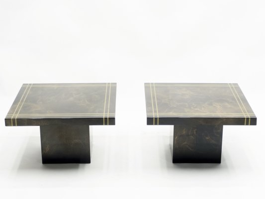 Pair of lacquered brass end tables by Guy Lefevre for Ligne Roset, 1970s