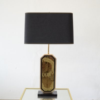 Hollywood regency 23ct gold & brass etching table lamp by George Mathias, 1970s