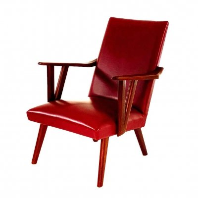 Skai red vintage armchair, 1960s