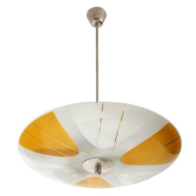 White & Yellow Glass Ceiling Lamp by Napako, Czechoslovakia 1960s