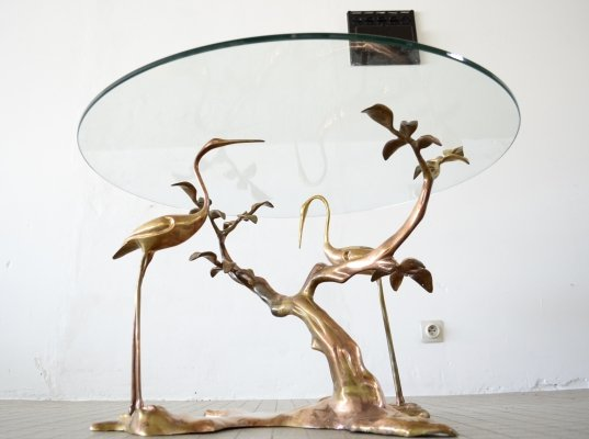 Hollywood regency brass coffee table by Willy Daro, 1970s