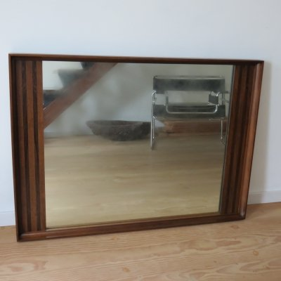 Very Large Danish Midcentury Teak & Rosewood Wall Hanging Mirror, 1960s