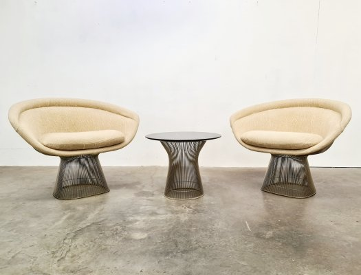 Set of 2 Warren Platner lounge chairs for Knoll International, 1970s