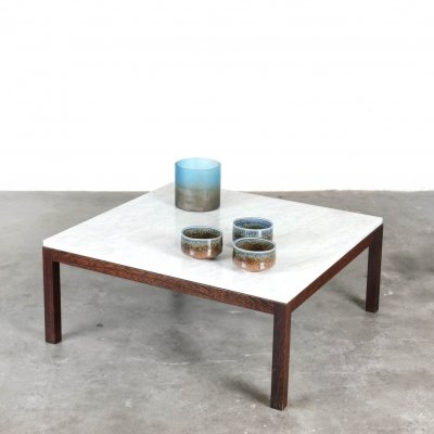 Wengé coffee table with marble top, 1960s