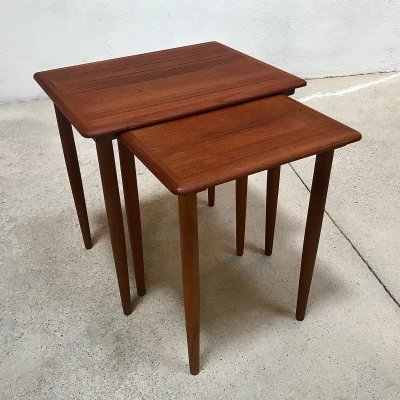 Pair of Vintage Danish Teak Nesting Side Tables, 1960s