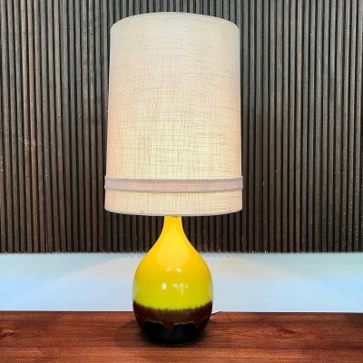 Large German Multicoloured Glazed Ceramic Table Lamp from Aro Leuchten, 1960s