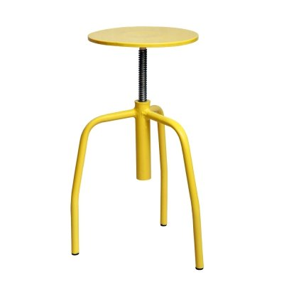 Yellow metal medical stool with adjustable height, Poland 1970s